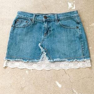 Vintage Z Cavaracci Lace Denim Mini Jean Skirt